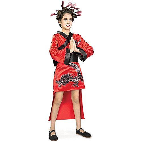 Child Red Dragon Girl Geisha Costume