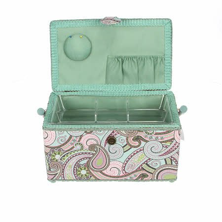 Sewing Basket Sewing Box Seafoam Blue. Mint Green and Pink Groovy Paisley Print Fabric Hobby Box Trimed in Lovely Green ~ Medium Rectangle ~ 11 X 6 X 6.5 (28cm x 15cm x 16.5cm) with Handle, Magnetic Snap Clasp and Feet аксессуары для акустики sonance medium rectangle staple template 5 pair per box