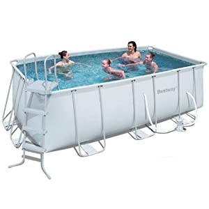 Bestway Rectangular Steel Pro Frame Set Above Ground Swimming Pool - Grey, 13.5 Ft