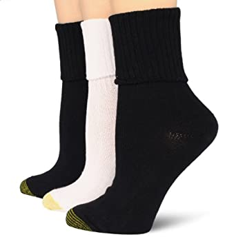 Gold Toe Women's Bermuda 3 Pair Socks, Black Marl/White/Black, 9-11