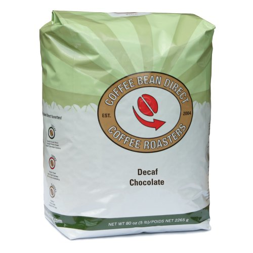 Coffee Bean Direct Decaf Chocolate Flavored, Whole Bean Coffee, 5-Pound Bag Image