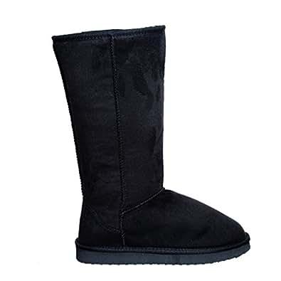 Fur Lined Mid-calf Snow Boots (5.5, blackV1) [Apparel]