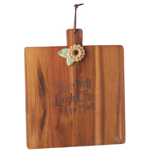 Grasslands Road 3-Pack Wooden Spring Meadow Cutting Board With Ceramic Daisy Attachment, 11-Inch