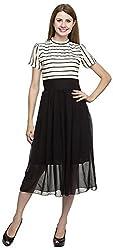 Dashy Club Women's Regular Fit Dress (VV-903-AC-B&W DRESS, Black and White, M)