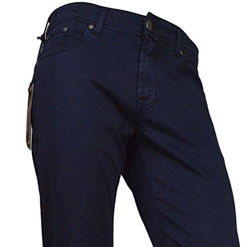 Pantalone Asquani Uomo Made in Italy 5 Tasche Slim Fit Blu Cotone Elasticizzato-50