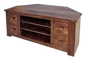 Mercers Furniture Michigan 4 Drawer Corner Tv Cabinet Brown Kitchen Home