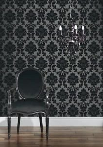 Classics Regency Damask Wallpaper - Black and Sil by New A-Brend
