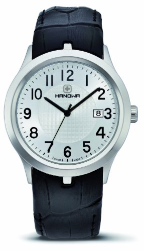 Hanowa Timeless Men's Quartz Watch with White Dial Analogue Display and Black Leather Strap 16-4000.04.007