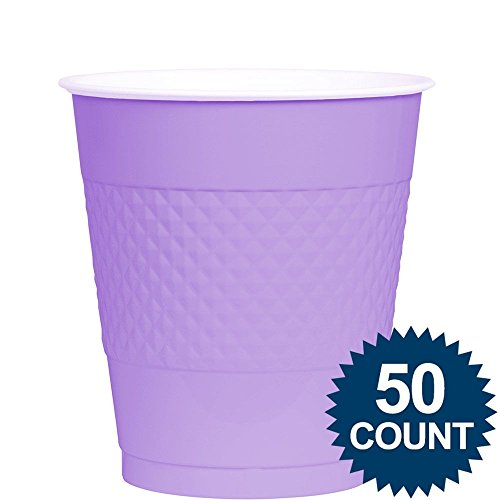 Amscan Big Party Pack 50 Count Plastic Cups, 12-Ounce, Lavender