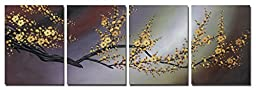 Wieco Art Plum Blossom Modern Canvas Prints Contemporary Wall Art