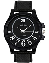 Latest Design Black Canvas Belt Watch, Round Black Dial Analog Watch For Men's/Boys Classic Fashionable Watch...