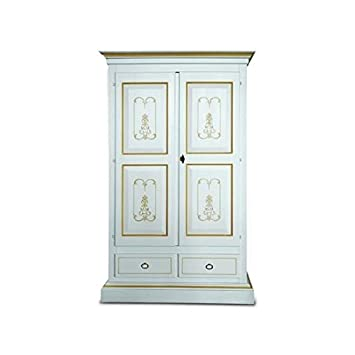 Wardrobe 2 Doors White Lacquered Solid Wood Thread Ochre