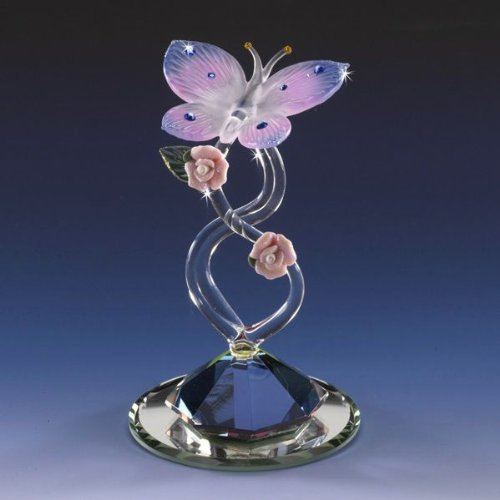 Miniature Collectible Butterfly Gem Glass Figurine Crystal Base Vines Glitter Porcelain Rose Air Brush