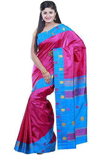Kanchipuram Handloom silk sarees Double side contrast border with checks Putta without Jari