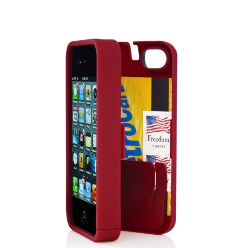 Best Price Red Case for Iphone 5 with Built-in Storage Space for Credit Cards/id/money, By EYN (Everything You Need)