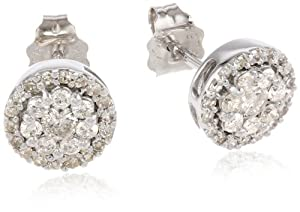 10k White Gold Round Diamond Cluster Earrings (1/2 cttw, I-J Color, I2-I3 Clarity)