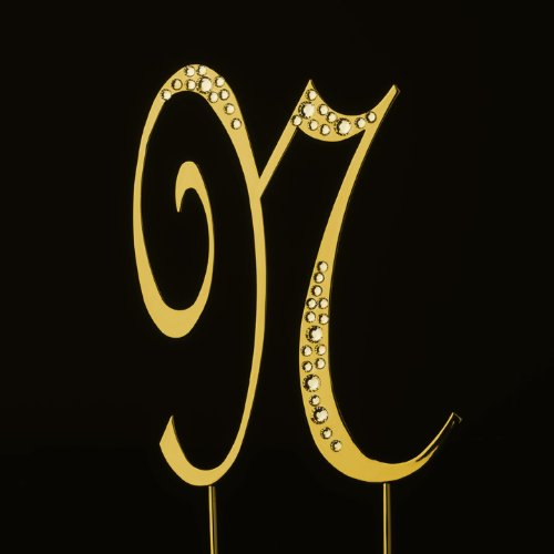 Raebella New York Swarovski Crystal Sparkle Cake Top Topper Gold Letter N (Large) back-705699