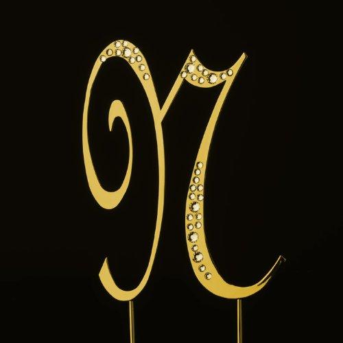 Raebella New York Swarovski Crystal Sparkle Cake Top Topper Gold Letter N (Large) front-323486