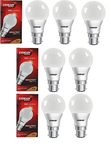 Eveready Base B22D 3-Watt LED Bulb (7 Pieces Offer Pack)