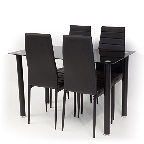 Tischgruppe-Glastisch-TORINO-Schwarzglas-mit-4-x-Stuhl-MILANO-schwarz