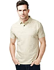 North Coast Pure Cotton Two Tone Print Polo Shirt
