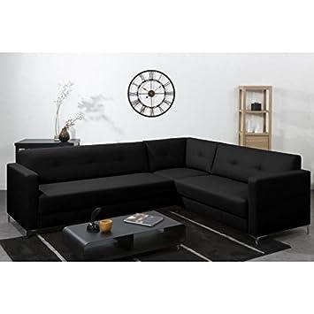 FINLANDEK Canapé d'angle panoramique NYKYAJAN en simili 4 places - 255x212x81 cm - Noir