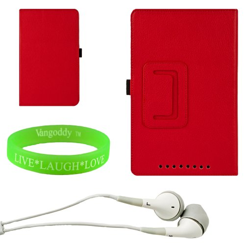 Sophisticated And Convenient And Non Bulky Apple Red Portfolio Stand Case For The Nexus 7 With A Slide In Pocket + White Earphones + Vangoody Wristband