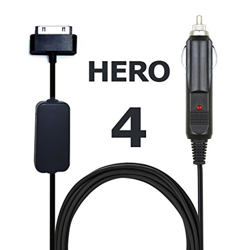 Power Cord Battery/Eliminator for GoPro Hero 4 Cameras with Automotive 12V Cigarette Accessory Plug
