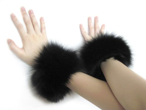 Black Fox Bracelets & Slap-on Cuffs Pair