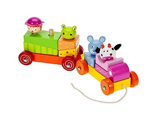 Petit train à tirer avec jouets à empiler en bois pour enfant premier âge pour fille ou garçon