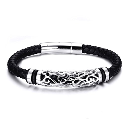 Time Pawnshop Handmade Braided Hollow Stainless Steel Leather Men Wrist Bracelet (Pickle Pajama Pants compare prices)
