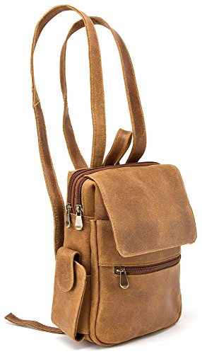 B00B2C6FKE Le Donne Leather Distressed Leather Womens Backpack/Purse,One Size,Tan