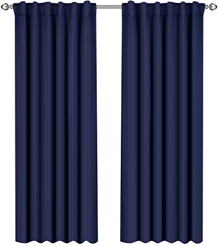 Utopia Bedding Blackout Room Darkening and Thermal Insulating Window Curtains/Panels/Drapes - 2 Panels Set - 7 Back Loops per Panel - 2 Tie Backs Included (Navy, 52 x 84)