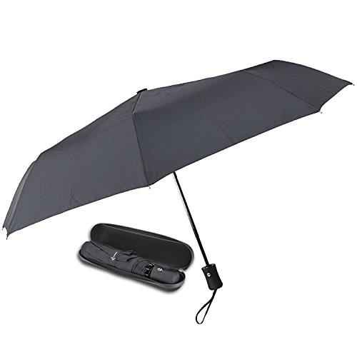 Ombrello da viaggio con custodia impermeabile. Apertura e chiusura automatica in tessuto idrorepellente e telaio in vetroresina (Nero)