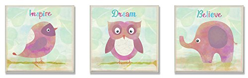[The Kids Room by Stupell 3 Piece Inspire/Dream and Believe Wall Plaque Set, Bird/Owl/Elephant] (Animals That Start With The Letter M)