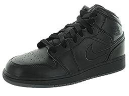 Nike Jordan Kids Air Jordan 1 Mid Bg Black/Black/Dark Grey Basketball Shoe 4 Kids US