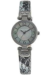 Anne Klein Women's Gray Snake Pattern Leather Strap Watch 26mm 10/9443GMGY