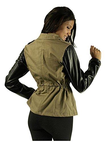 G2 Chic Women's Faux Leather Sleeve Wrap Jacket(OW-JKT,LGN-M)