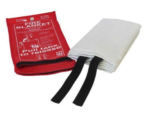 Hot Headz Fire Blanket, 36 X 36-Inch, Red Extinguishes Fire By Suffocating It ; Extinguishes Both Liquid And Grease Fire Unlike The Fire Extinguishers, The Fire Blanket Does Not Leave A Mess After A Fire Ideal For The Kitchen, Fireplace, Grill, Car, Campi