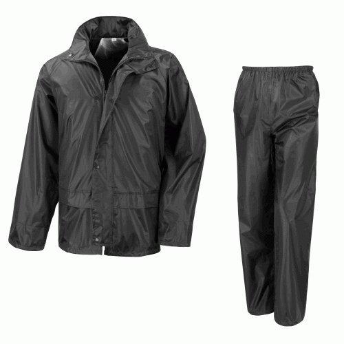 Sopra giacca impermeabile da motocicletta Pantaloni tuta, 2 pezzi, colore: nero
