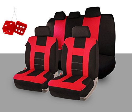 Zone Tech Universal Fit Premium Quality 100% Waterproof Breathable Full Set of Red and Black Racing Style Seat Covers + Pair of Bold Red Plush Hanging Fuzzy Dice Set (Red Bucket Seats For Racing compare prices)