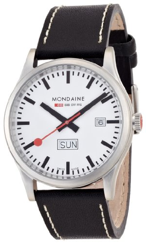 Mondaine Sport Line Men's Watch 1 A667.30308.16SBB with White Round Dial and a Black Leather Strap