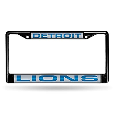 Detroit Lions Official NFL 12 inch x 6 inch Laser Chrome License Plate Frame by Rico Industries 846114