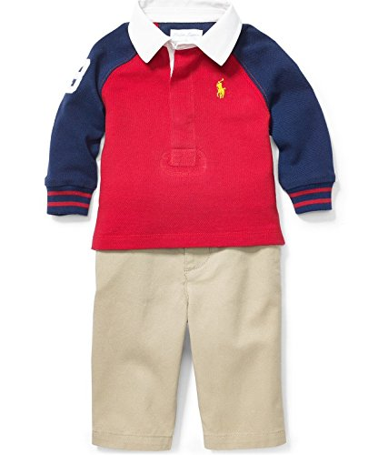 Ralph Lauren Baby Boys' 2-piece Rugby Shirt & Pants Set – Size 6months