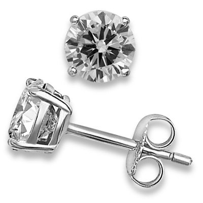 2 tw White CZ Simulated Stone Round 925 Sterling Silver Basket Stud Earrings 6mm