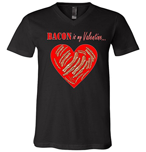 Bacon Is My Valentine Funny V-Day V-Neck T-Shirt
