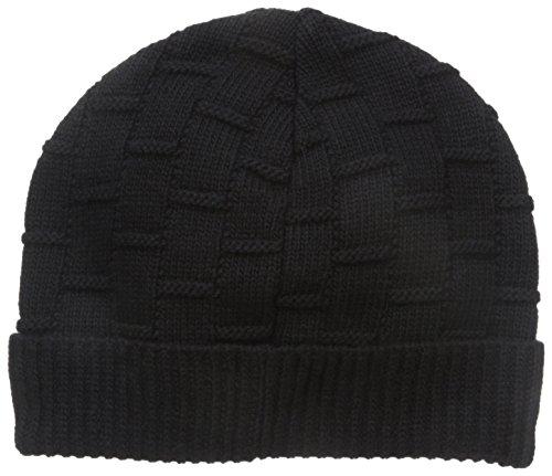 Ben Sherman Men's Rib Knit Cuff Beanie, Jet Black, One Size