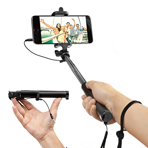 EEZ-Y Foldable Selfie Stick w/ Wired Connectivity - Portable & Battery Free - Seamlessly Connects via Cable with iPhone Samsung Sony Lg Nexus Device