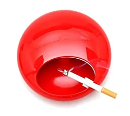Portable Rotation Round Ashtray with Lids Melamine Porcelain Smoke Soot Vat Lighters Smoking Accessories (red)
