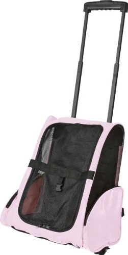 Pink Airline Approved Travel Pet Backpack & Carrier With Wheels front-1022196